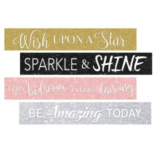 Assorted Sparkle Wall Art Messages