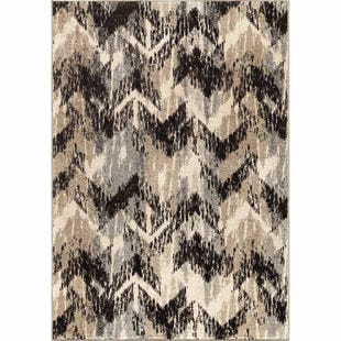 Distressed Chevron Gray 8x11 Rug