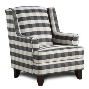 Plaid Brock Wing Chair Black and White