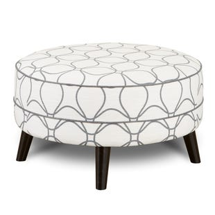 Floral Plato Cocktail Ottoman Cream