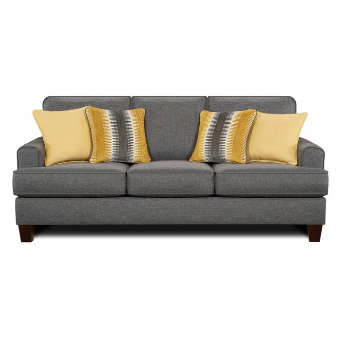 Fusion Maxwell Steel Gray Contemporary Sofa | Weekends Only Furniture