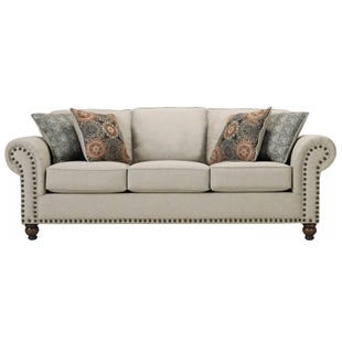 Linen Max Sofa with Nailhead