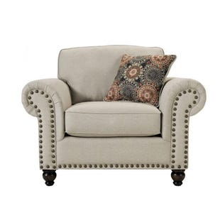 Fusion Max Linen Chair and 1/2 with Nailhead Trim
