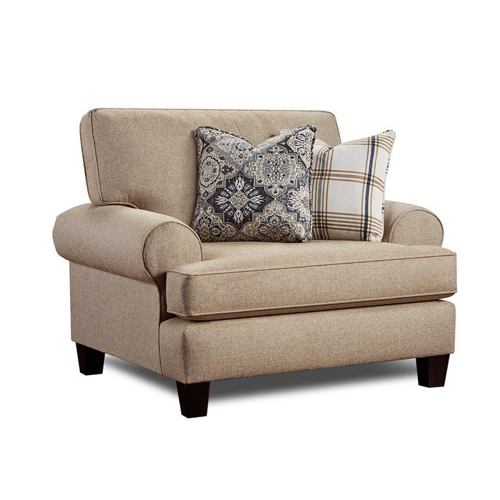 Fusion Whitaker Beige Twill Chair And Half Weekends Only Furniture