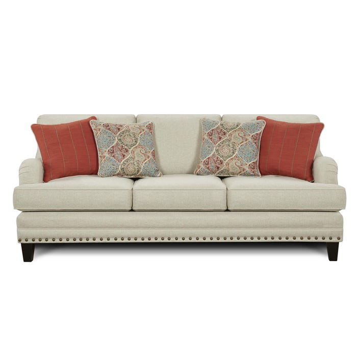 Fusion Burash Linen Sofa With Nailhead Trim