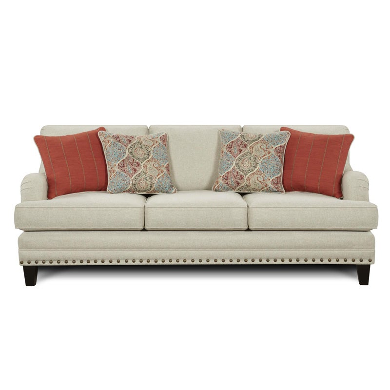 fusion burash linen sofa with nailhead trim weekends only furniture rh weekendsonly com tufted sofa with nailheads ashley sofa with nailheads