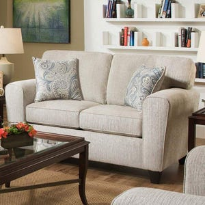 Uptown Cream Chenille Loveseat