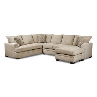 Perth 2 Piece Ivory Chenille Reversible Chaise Sectional