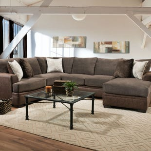 Akan 2 Piece Mocha Reversible Chaise Sectional