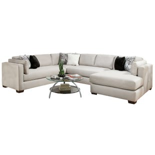 Glencrest Modern Silver Chaise Sectional