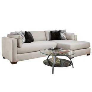 Glencrest Modern Silver Chaise Sofa