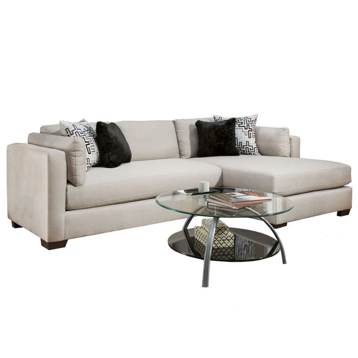 Glencrest Modern Silver Chaise Sofa | Weekends Only Furniture