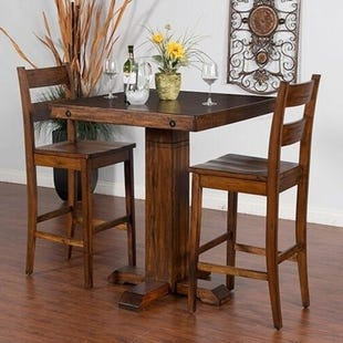 Sunny Designs Tuscany Brown Pub Table and 2 Stools