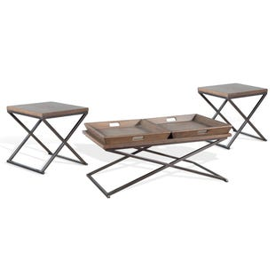 Masquerade Brown/Metal 3 Pack Coffee and End Tables
