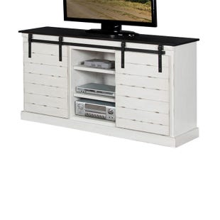 """Barn Door 62"""" White and Black TV Console"""