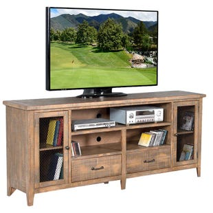 """Sunny Designs Puebla Driftwood 78"""" TV Stand with Drawers"""