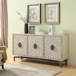 Dayton Textured Cream 3 Door Credenza