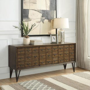 Oxford Vintage Distressed Brown 3 Door Credenza