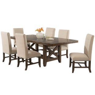 Franklin 7 Piece Rustic Upholstered Dining Set