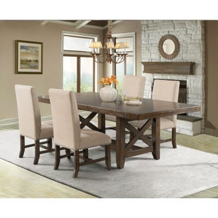 Franklin 5 Piece Rustic Upholstered Dining Set