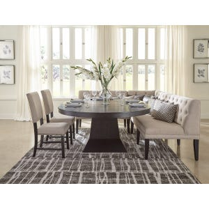 Maddox Brown Table, Linen Sectional and 2 Chairs