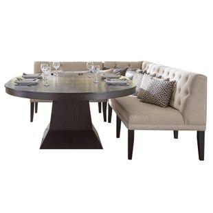 Maddox Brown Dining Table and Linen Sectional