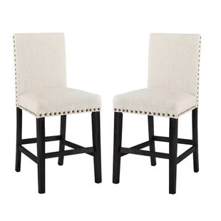 Greystone Set of 2 Counter Stools Brown Linen