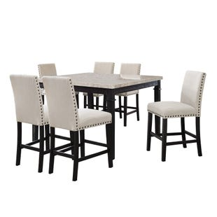 Greystone Brown Linen 7 Piece Counter Height Dining Set