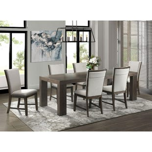Grady Warm Espresso/Linen Fabric 7 Piece Dining Set