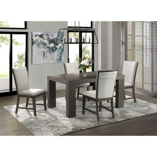 Grady Warm Espresso/Linen Fabric 5 Piece Dining Set