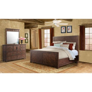 Jax Smokey Walnut Queen Panel Storage 3 Piece Bedroom Set