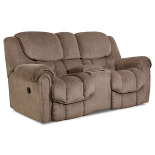 Homestretch Del Mar Taupe Reclining Rocking Console Loveseat