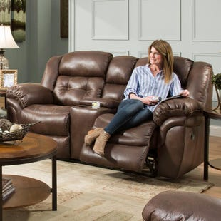 Homestretch Frontier Almond Power Reclining Console Loveseat