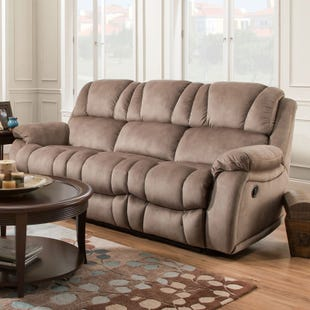 Lars Brown Polyester Power Reclining Sofa