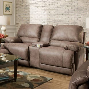 Colt Brown Polyester Power Reclining Console Loveseat