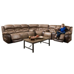 Lone Star Brown Triple Power Reclining Sectional
