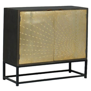 Solar Reclaimed Wood and Metal Accent Cabinet
