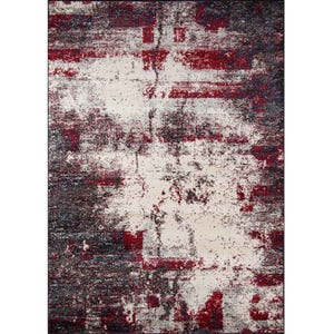 Loft Red and Gray Abstract 8x10 Rug