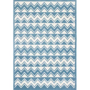 Whimsical Blue & White 5x7 Rug
