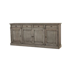 Bronson Solid Mahogany 4 Door Console In Smoke Gray