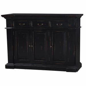 Lincoln Black Distressed 3 Drawer Narrow Buffet