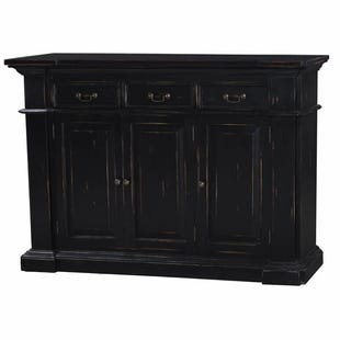 Bramble Black Distressed 3 Drawer Narrow Buffet