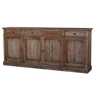 Bronson Solid Mahogany 4 Door Console In Black Wash Finish