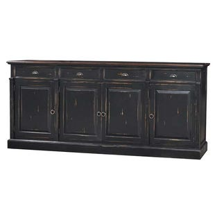Bramble Solid Mahogany 4 Door Console In Black Finish