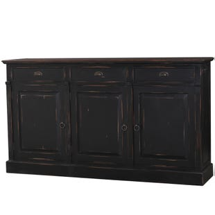 Hudson Black Distressed Mahogany 3 Door Sideboard