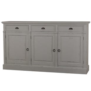 Bronson 3 Door Sideboard in Dark Dove Gray Finish