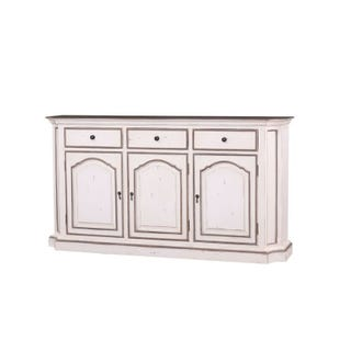 Royal Solid Mahogany 3 Door Distressed White Buffet