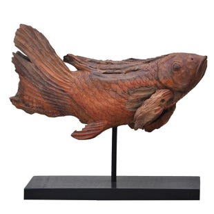A&B Home Teak Fish Sculpture