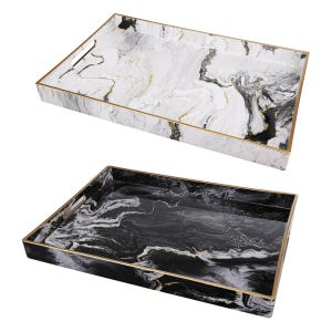 Faux Marble Tray Set