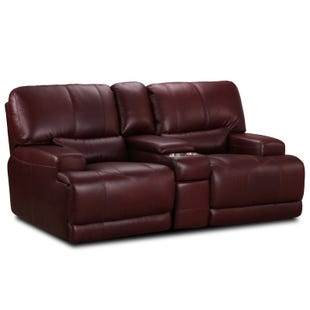 Simon Li Dayton Bordeaux Top Grain Leather Reclining Love
